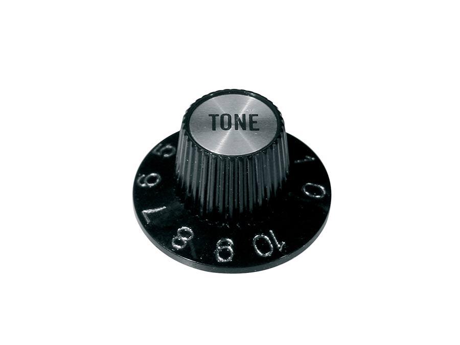 Boston witch hat knob, with chrome cap, black, tone