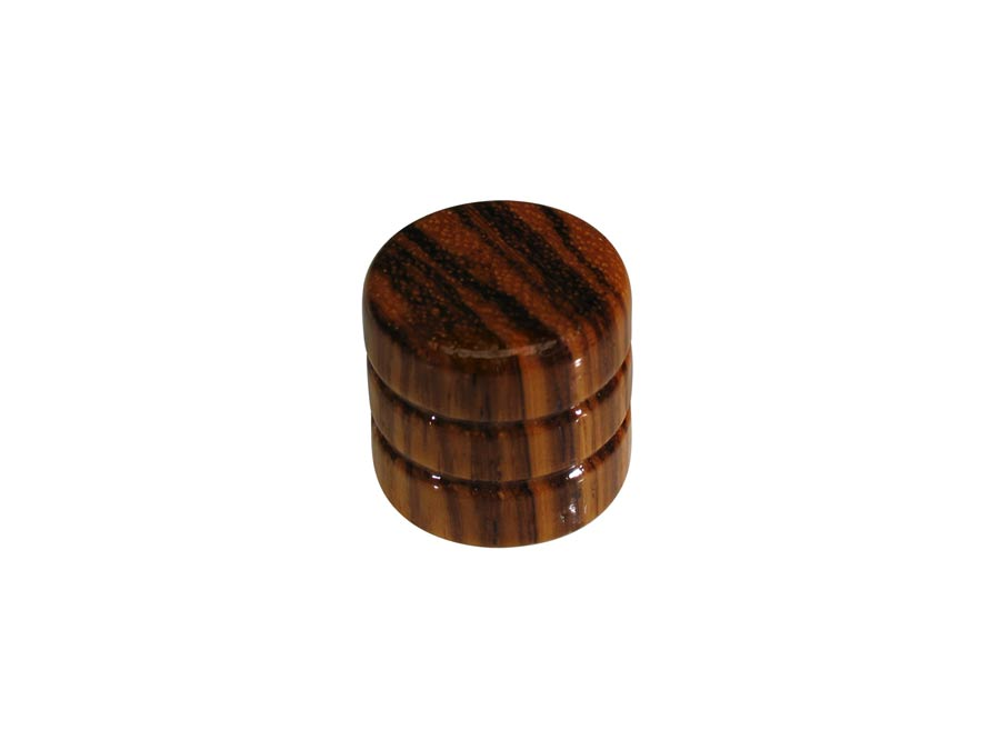 Boston dome knob, wood, 2 rings, 19x18mm, zebra
