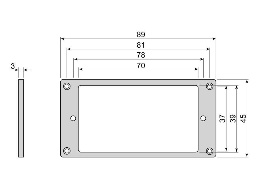 Boston humbucker frame, flat, 3x3mm, black
