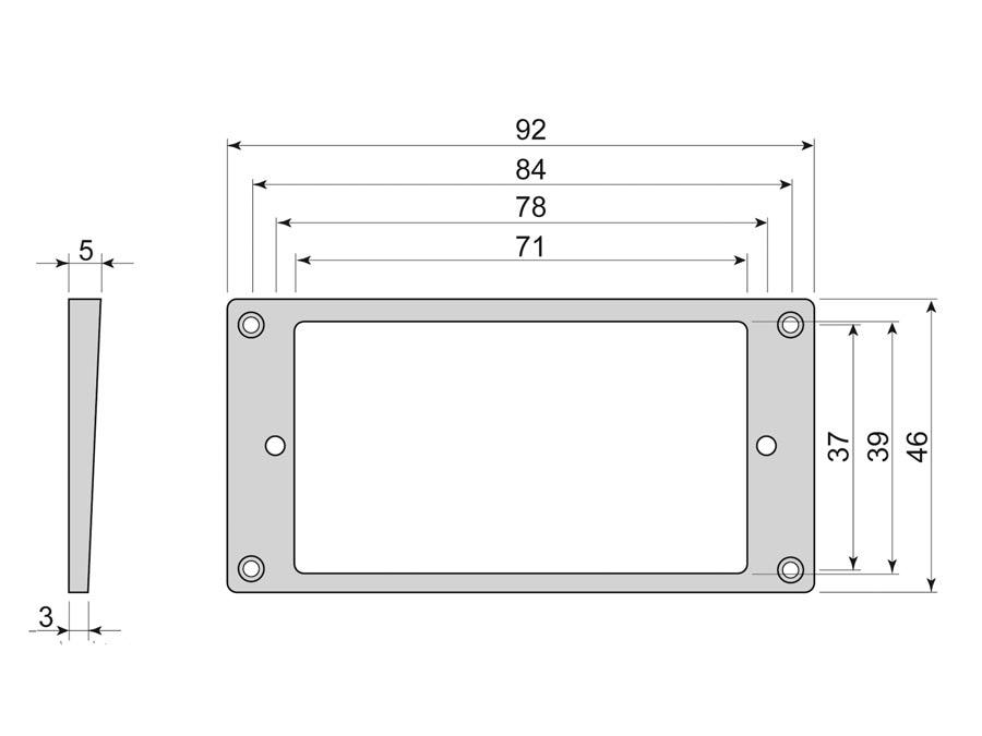 Boston humbucker frame, flat bottom slanted top, 3x5mm, blac