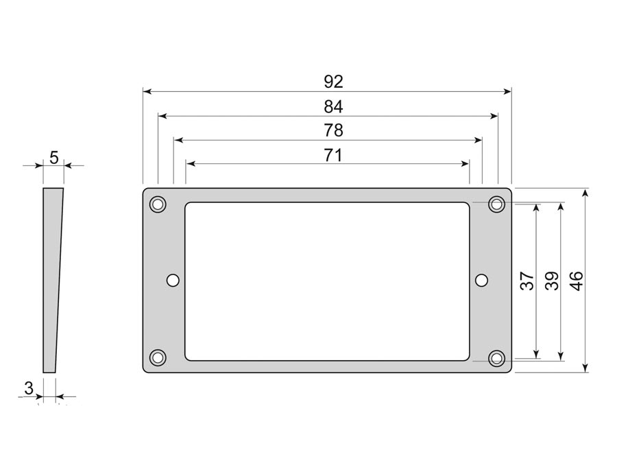 Boston humbucker frame, curved bottom slanted top, 3x5mm, iv