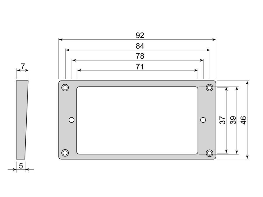 Boston humbucker frame, curved bottom slanted top, 5x7mm, bl