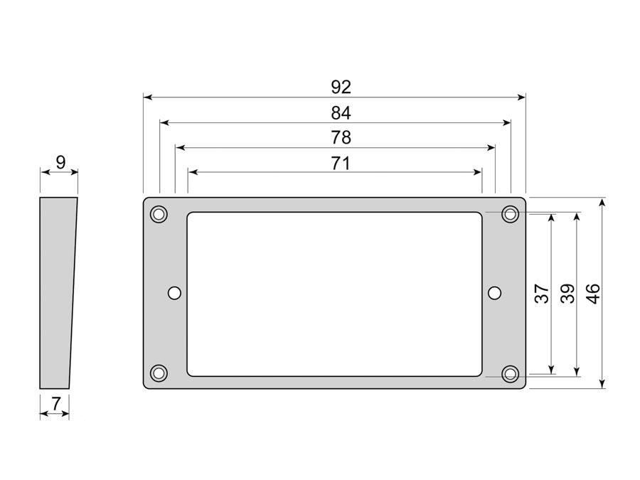 Boston humbucker frame, curved bottom slanted top, 7x9mm, bl